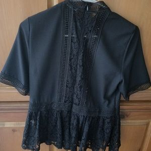 Zara Black Lace Blouse (Size Small)